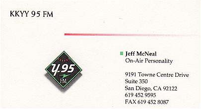 Jeff McNeal's KKYY Business Card