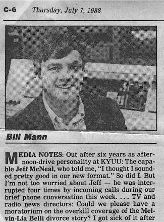 Radio columnist Bill Mann delivers my KYUU obituary