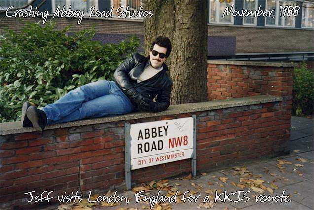Jeff McNeal visiting Abbey Road Studios, London England.  November, 1988