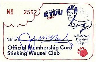 Official Stinking Weasel Membership Card
